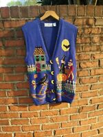 Design Options 90s Halloween Moon Buttons   Sweater Vest  M (fits like XL)