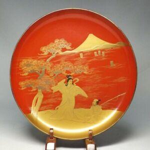 D1129: Japanese old lacquer ware BIG SAKE cup with rare MAKIE of Urashima Taro