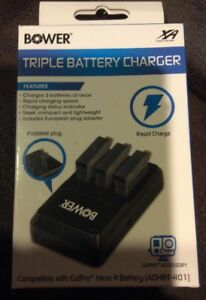 Bower XAS-GP4TRI Triple Battery Charger for GoPro ADHBT-401 (Black)