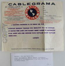 1930 Seefahrt & Transport Telegramm Entladeanweisung San Juan Puerto Rico