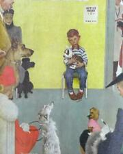 Vintage At The Vet's By Norman Rockwell Canvas Lithograph March 29, 1952
