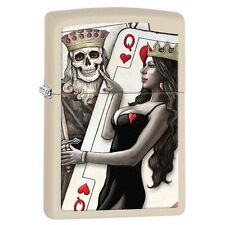 Zippo 29393, King & Queen of Hearts, Cream Matte Finish Lighter, Full Size