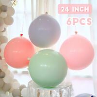 6Pcs 24'' Latex Balloons Circular Birthday Wedding Birthday Baby Shower