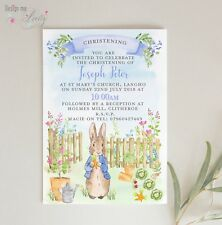 Peter Rabbit PERSONALISED CHRISTENING INVITES  Pack of 10 BABY BOY In the Garden
