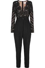 $6065 Lanvin Bow Waist Lace Jumpsuit Floral Guipure Long Sleeve Catsuit Silk T38