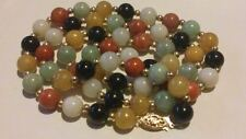 "QVC 14K 585 Yellow Gold with Multi-colour 8.5mm JADE Bead Strand 24"" NECKLACE***"