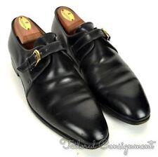 BERLUTI Solid Black Leather Mens Monk Strap Loafer Dress Shoes - UK 8 / US 9