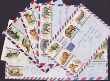 Burundi 1982 - All the stamps of rare set ANIMALS used on lot of 7 sended letter