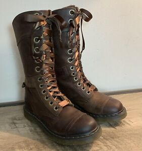 DR Doc MARTENS Brown LEATHER Pink FLORAL LINED 12 Eyelet TRIUMPH 1914 BOOTS  9