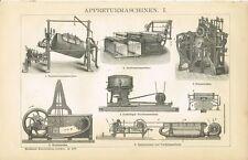 Tafel APPRETURMASCHINEN / APPRETUR / WASCHMASCHINE Original-Holzstich 1893