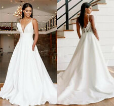 Simple Wedding Dresses Spaghetti Straps with Pockets Backless A Line Bridal Gown