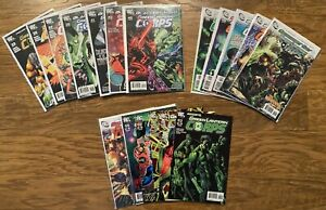 LOT OF 30 DC GREEN LANTERN CORPS BLACKEST NIGHT LOOK PLASTIC WITH BOARD