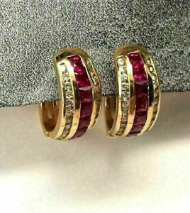 2.5CT Princess Cut Ruby & Diamond Huggie Hoop Earrings In 14K Yellow Gold Finish