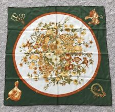 Silk Equestrian Scarf Green Yellow Saddle Flowers 90 cm Square