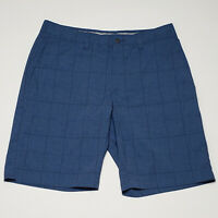 Callaway Men's Blue Plaid Flat Front Polyester Blend Golf Shorts Size 32