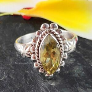 925 Silver Faceted Lemon Quartz Ring Marquise Natural Gemstone Jewelry Handmade