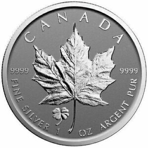 Canadian Maple Four Leaf Silver Coin Bars Clover Privy 1oz Silver Reverse Proof