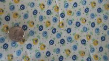 "Vintage Feedsack Feed Sack Fabric YELLOW & SHADES OF BLUE FLORAL, DOTS 36""X42"""
