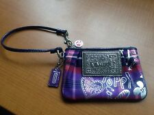 Coach Poppy Tartan Plaid Graffiti Wristlet ~ Purple/Silver