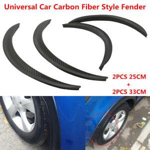 4x Universal Car Carbon Fiber Look Body Kits Fender Flares Wheel Lip 25cm + 33cm