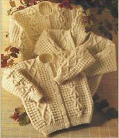"Aran Cardigans Knitting Pattern Boys Girls V or Crew Neck  24-32"" 1029"