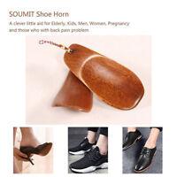 1pc Portable Natural Wooden Craft Shoe Horn Long Handle Shoe Lifter JB