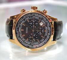 New Guess U0500G3 Luscious Chronograph Brown Leather Band Men Watch