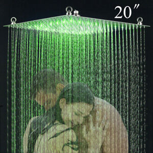 20 inch LED Square Rainfall Shower Head Ultra Thin 304 Stainless Steel Nickel UK