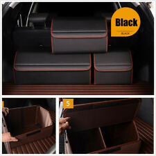 1*Universal M Size PU Leather Car Trunk Organizer Stowing Tidy Storage Bag Black