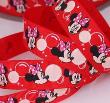 "1"" 25mm RED MINNIE MOUSE BUBBLE PRINTED GROSGRAIN RIBBON  5YARDS/DIY HAIRBOWS"