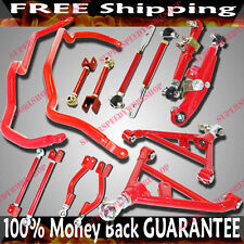 Fits 240SX S14 Suspension Combo Camber Kits+F&R Lower Control Arm+SwayBar RED
