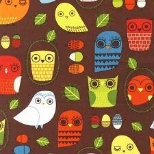 Robert Kaufman Suzy Ultman Critter Community Owl Owls Retro Fabric Yard