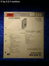 Sony Service Manual WM 509 Cassette Player (#0680)