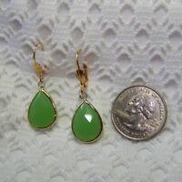 Lime Green Teardrop Earrings, Faceted Opaque Green Quartz Gold Drop Earrings