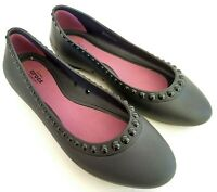 Crocs Lina Luxe Iconic Comfort Womens Size 8 Black Ballerina Slip On Flats Shoes