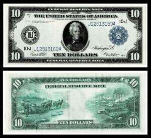 1914 $10  Federal Reserve Large Size Note ~KANSAS CITY   ~ EXTRA FINE