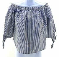 Love Fire Off The Shoulder Top Juniors Size Medium Blue & White Striped