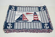 6 Placemats Sailboat Lighthouse Boat Anchor Nautical Beach Sea Decor 100% Cotton