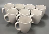 Set of 8 Corelle Corning Stoneware Cream/White Coffee Cups Mugs ~12 Oz #2 AA