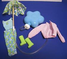 2000 Barbie Doll Clothes-Rain or Shine Flower Umbrella Boots Jacket Outfit Set