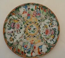 Vintage Rose Medallion Hand Painted Dinner Plate 8.5 Inches Pre 1940 Family Life