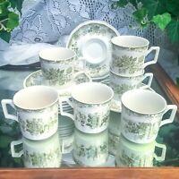 13 pcs Vintage Kensington Staffordshire Ironstone Balmoral Green Cups & Saucers