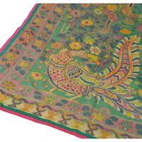 Tcw  New Green Heavy Dupatta Hand Embroidered Kantha Stole Chanderi Silk