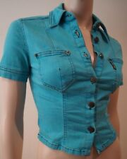 PLEIN SUD Blue Cotton Stretch Collared Short Sleeve Fitted Blouse Shirt Top 40/8