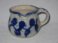 Vintage Salt Glazed Stoneware Milk Creamer Pitcher Grey & Blue