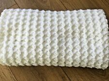 "NEW Crochet Baby Blanket White cot pram car seat Moses basket 31"" x 26"""