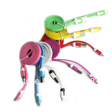10x 2Meter Flat Noodle Data Sync Charging USB Cable for iPhone 5S 6 7 Plus iPod