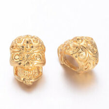 2PCS Real Gold Plated Brass Skull Beads Golden 3-Hole Beads 12x8x8mm