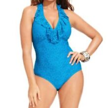 Kenneth Cole One Piece Swimsuit Sz 1X Azul Blue Underwire Support Swim  RS41N17