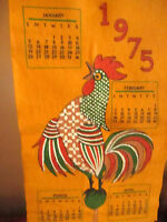 "True Vtg 34x10"" Gold Felt 1975 Rooster graphic  Hippy Hanging Wall Calendar"